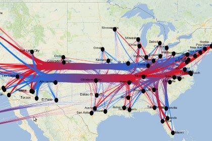 Карта США с отмеченным на ней графом распространения трендов (от синего к красному)